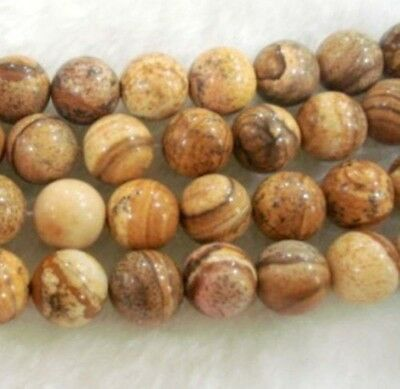 8mm round Chinese Picture stone gemstone loose beads15'' PL140