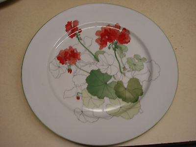 Vtg Block Spal Bread & Butter  Plate Watercolors Geranium 1981 Portugal