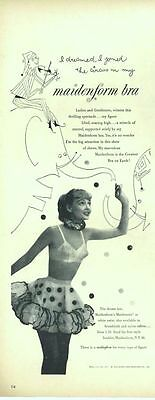 """1952 Maidenform Bra """"I dreamed I joined the Circus""""  ART Drawing PRINT AD"""
