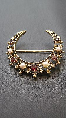 9CT Gold Garnet & Pearl Crescent Shaped Brooch