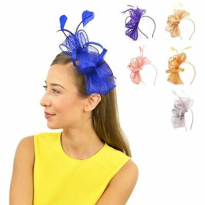 Womens Large Sinamay Feather Fascinator Ladies Day Races Wedding Royal Ascot