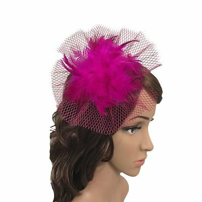 Net Hoops Feather Hair Clip Fascinator with Headband Wedding Royal Ascot Races