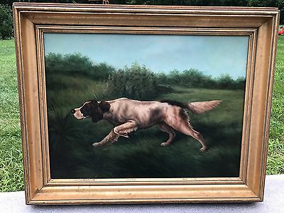 RARE Antique Oil Painting on Canvas HUNTING DOG ENGLISH SETTER SIGNED P. ENGLISH