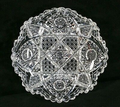 """Antique ABP Cut Glass Sawtooth Nappy Low 6"""" Dish Stars Cane Hatching Unsigned"""