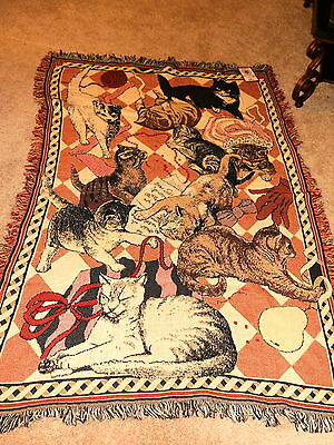 """NEW VTG."""" RUG BARN"""" KITTY CATS THROW/TAPESTRY 100% COTTON U.S.A.76"""" x 48"""" NWT"""
