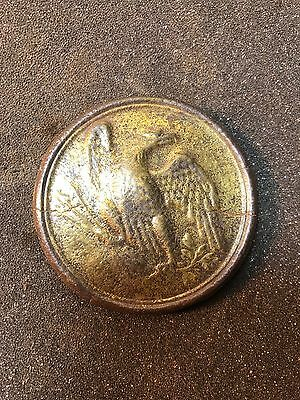 Rare Civil War 3 Hook Eagle Plate With Gold. Must See Relic