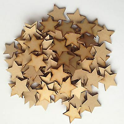 MDF Wooden Star Shapes 3mm Thick Custom Cut Wood Cutout 10mm - 75mm