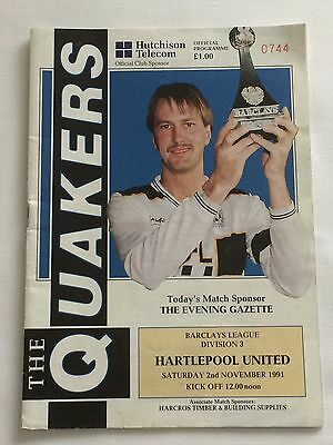 Darlington v Hartlepool United - 2 November 1991 Football Programme