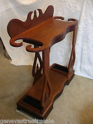 Antique Pine & Walnut Wood Victorian Hall Umbrella Stand two-tier Table