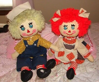 Raggedy Ann And Andy Vintage Handmade Rag Dolls Original Antique Hard To Find