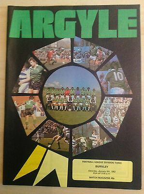 Plymouth v Burnley 1981-82 programme