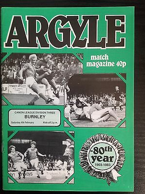Plymouth v Burnley 1983-84 programme