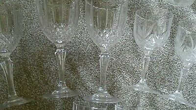 30 Crystal cut wine glasses plus 6 shot crystal glasses.