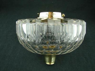 HINKS OIL LAMP FONT CLEAR FACET CUT CRYSTAL, BRASS BAYONET FIT, 23mm UNDERMOUNT