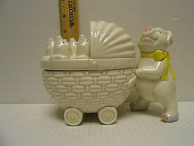 Fitz & Floyd Mother Pig With Baby Carriage Lid Candy/trinket Dish Rare!!!!