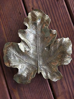 Vtg. Virginia Metalcrafters VMC Brass Large Fig Leaf Dish