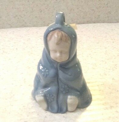 Vintage Baby Boy Dinner Bell BLUE SNUGGLE BLANKET Bare Butt BOW Porcelain Bell