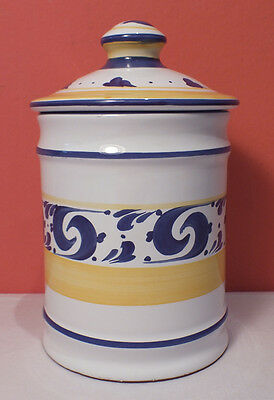Herend Village Pottery SPLASH Medium Canister & Lid EXCELLNT Blue Yellow Hungary