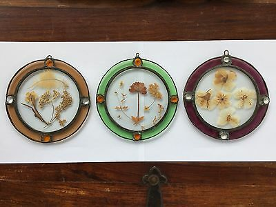 Job lot of 3 Hand Made Stained Glass with Real Pressed Flowers - diameter 15 cm