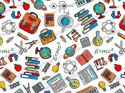 Science Scientist School Background Pattern Edible Icing Party Cake Topper