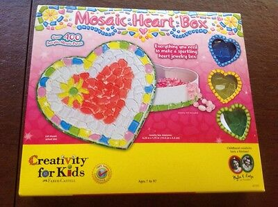 Mosaic HEART shaped BOX JEWELRY kit ARTS crafts for KIDS Great Gift!!