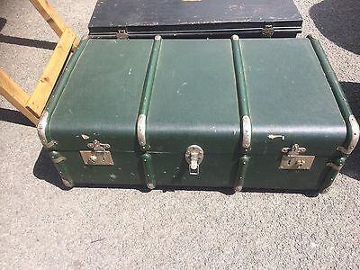 Green Cloth Covered Steamer Trunk In Excellent Condition