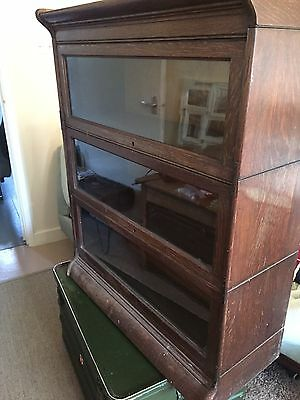 Antique Vintage Globe Wernicke Bookcase x3 sections