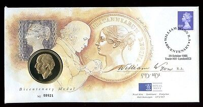 Great Britain - 1995 FDC -  William Wyon Birth Bicentenary plus Medal