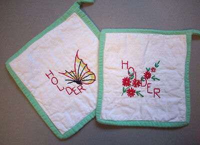 Hand embroidered potholders butterfly flowers pot holder
