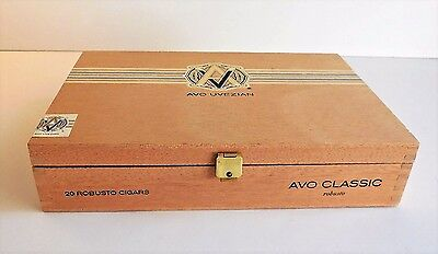 "Vintage Wooden AVO UVEZIAN Cigar Box Hinged Lid w Latch 9"" W x 2"" H x 6"" D"