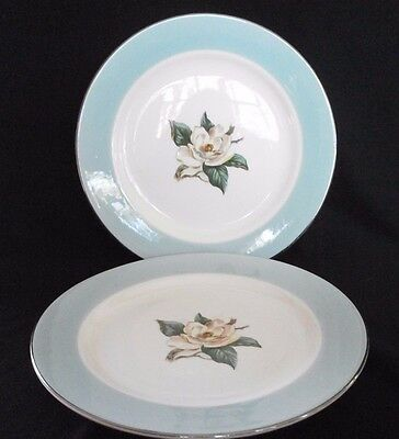 "2 Lifetime China Turquoise 7-1/4"" Salad Plates Homer Laughlin Magnolia"