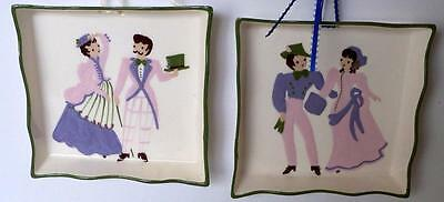 2 Vintage Cleminsons California Art Pottery WALL HANGING PLAQUES COUPLE IN PINKS