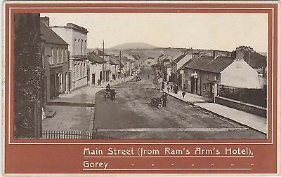 Irish Postcard. Main St ( from Ram's Arm's Hotel) Gorey. Co. Wexford.  c 1910
