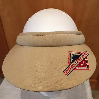 Womens Vintage Golf Visor Sedona Golf Resort One Size A Tan Red Blue 26cef0a828c