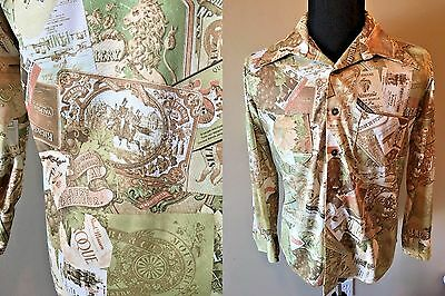 Vintage 1970s Disco Mens Shirt Wine Labels Grapes Print Polyester size L S1