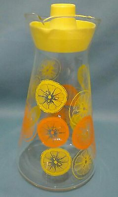 Vintage Pyrex Orange Juice Carafe Pitcher w/ Lid ORANGE & LEMON Pattern U.S.A.
