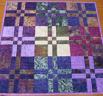Handmade Quilted Table Topper, Disappearing 4-Patch (#2) with Jewel Batiks