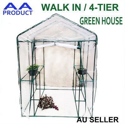 Walk In /4-Tier Garden Greenhouse Plant Shed Green House Shade with PVC Cover