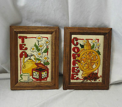 "Vintage 70s 80s wood framed finished cross stitch Coffee & Tea 8 1/2"" x 6 1/2"""