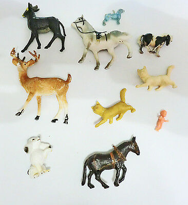 Vintage Miniature Plastic Animal 10 Pc Lot Mix Baby Horses Deer Cats & Dogs
