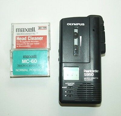 Olympus Pearlcorder S950 with Maxell Head Cleaner and Spare MC-60 Cassette