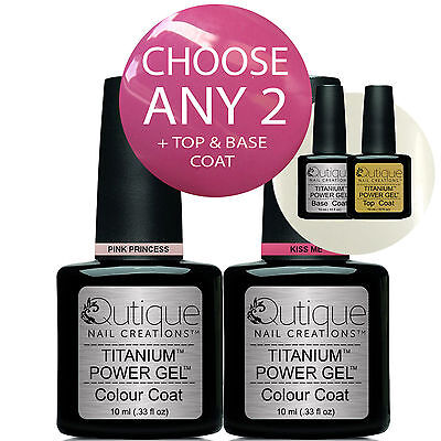 QUTIQUE Gel Nail Polish Colour Kit/Pack/Set -ANY 2 COLOURS inc Base & Top Coat