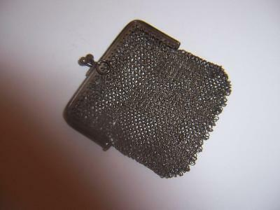 19c GERMAN 800 SILVER MESH COIN PURSE VINTAGE