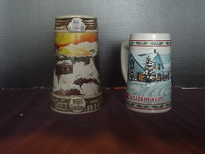 Lot of 2 Miller Beer Christmas Beer Steins