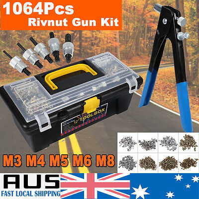 1064Pcs Threaded Nut Rivet Tool Riveter Rivnut Nutsert Gun Riveting Kit M3-M8