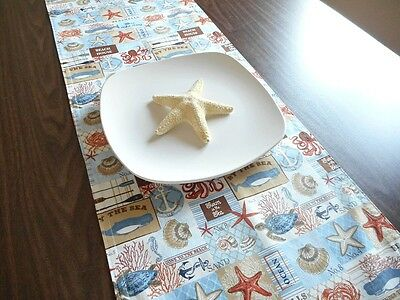 Coastal Beach Words Table Runner Seashells Starfish Blue Tan White Decorative