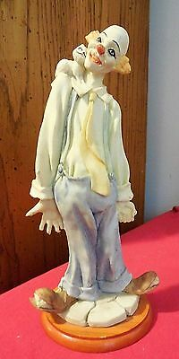 SEE ME Resin Clown Figurine - Clown Holding Fish in Hand with Cat on Shoulder