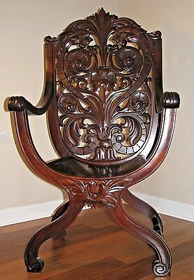 Antique Vintage Victorian Throne Chair Mahogany * Now Offering Free Shipping! *