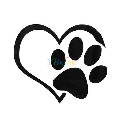 Print With Heart Dog Cute Vinyl Decal Auto Window Bumper Sticker Decor Pet Paw