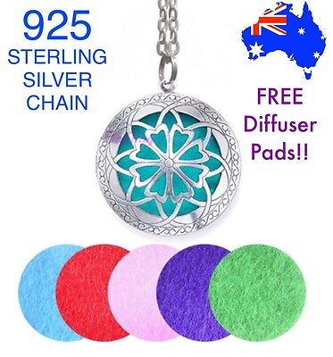 Essential Oil Diffuser Locket Pendant 925 Sterling Silver Chain Necklace Gift